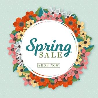 Promoção de venda de primavera desenhada à mão com moldura de flores