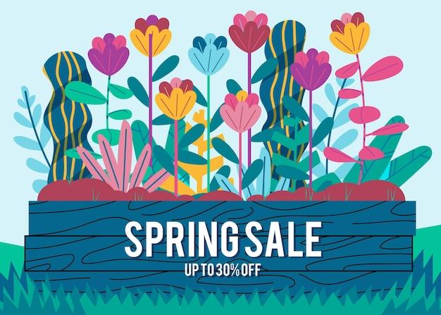 Promoção de venda de primavera desenhada à mão