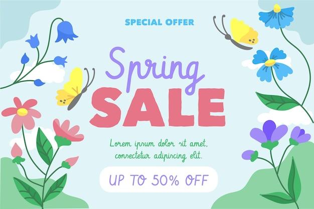 Promoção de venda de primavera desenhada à mão Vetor grátis