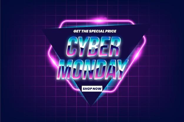 Promoção de venda de segunda-feira cibernética futurística retrô