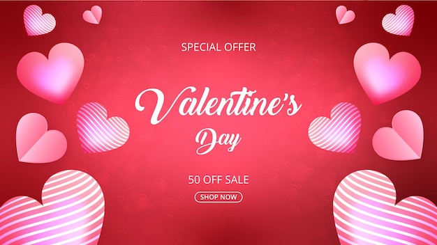 Promoção de venda do dia dos namorados e plano de fundo ou banner com corações doces em rosa e vermelho.