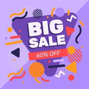 Promoção de vendas de design abstrato com 60% de desconto