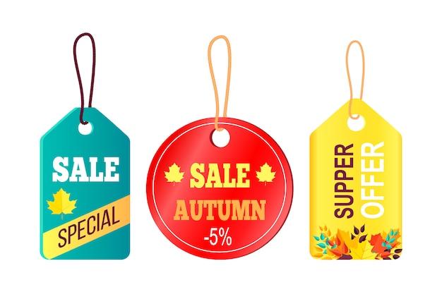 Promoção de vendas no conceito de outono, texto de suspensão de etiquetas