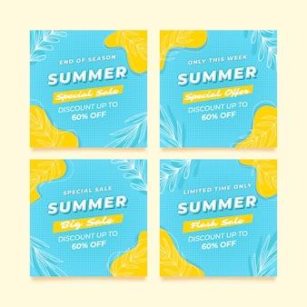 Promoção de verão do modelo de feed do instagram
