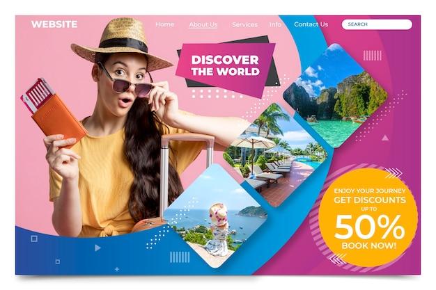 Promoção de viagens com página de destino com foto