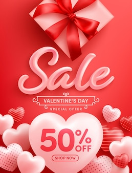 Promoção do dia dos namorados com 50% de desconto cartaz ou banner com muitos corações doces e caixa de presente em vermelho