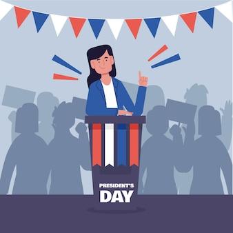 Promoção do evento do dia do presidente com ilustração de uma presidente