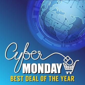 Promoção do fundo da bandeira da venda de segunda-feira do cyber.