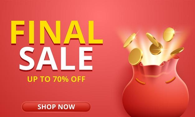 Promoção do modelo de banner de desconto de venda final