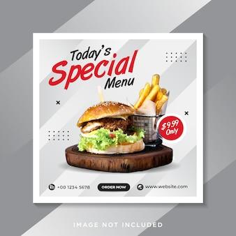 Promoção em mídia social de alimentos e postagem de banner no instagram