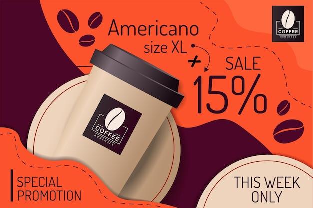 Promoção especial de café em copo de papel
