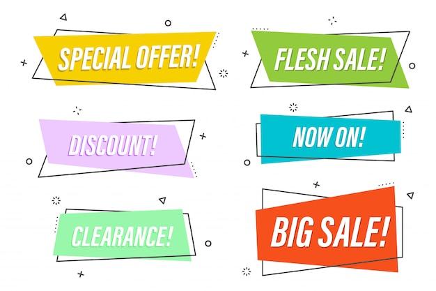 Promoção linear plana fita banner conjunto, rolagem, preço, etiqueta, crachá, coleção de pôsteres. colorido. ilustração