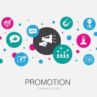 Promoção, modelo de círculo moderno com ícones simples. contém elementos como publicidade, vendas, conversão de leads, atração
