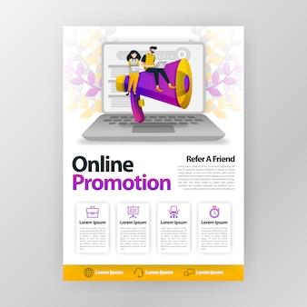 Promoção on-line e consulte um cartaz de negócios de amigo com ilustração dos desenhos animados plana.