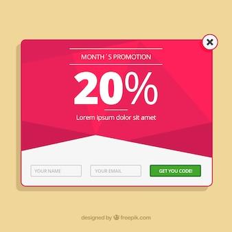 Promoção pop-up modelo com design plano