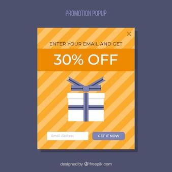 Promoção promocional colorida com design plano