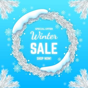 Promoção realista de liquidação de inverno com flocos de neve