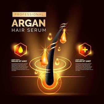 Promoção realista de soro para cabelo com óleo de argan