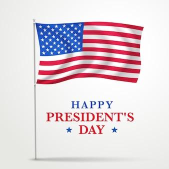 Promoção realista do dia do presidente com bandeira