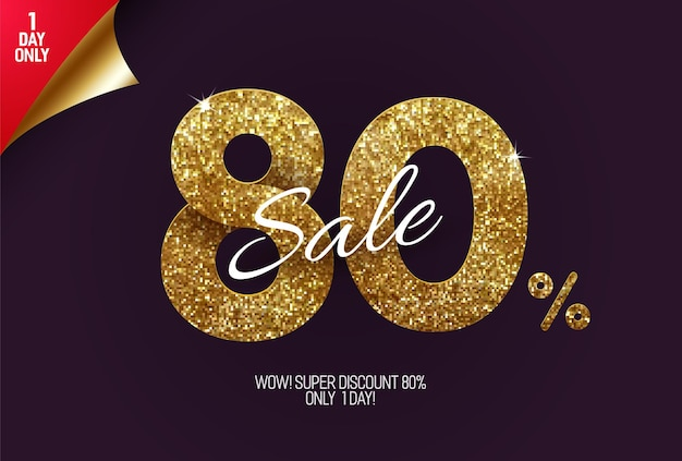 Promoção shine golden com 80% de desconto, feita de pequenos quadrados dourados com glitter