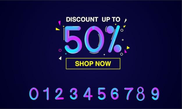 Promoção, venda, design de modelo de banner com efeito de texto moderno número colorido gradiente líquido 3d