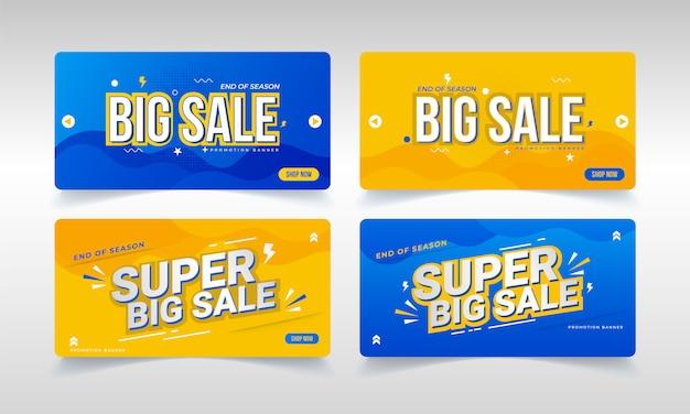 Promoções de grande venda, banner para vendas no final da temporada