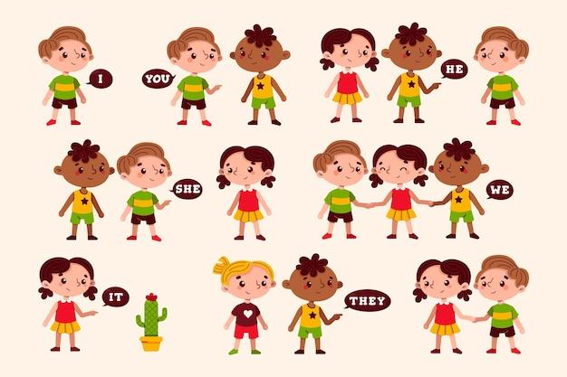 Pronome sujeito em inglês com crianças de desenho animado