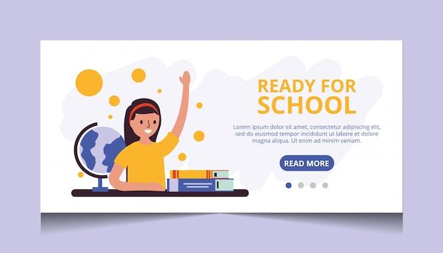 Pronto para a escola. vetor de página de destino