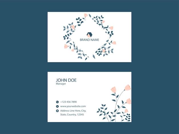 Pronto para imprimir o layout do modelo de cartão de visita na cor branca.