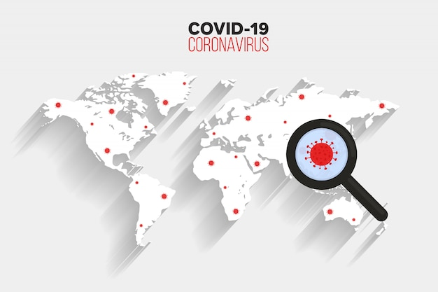 Propagação do vírus corona no fundo do mapa mundial, ícone de vírus de pesquisa