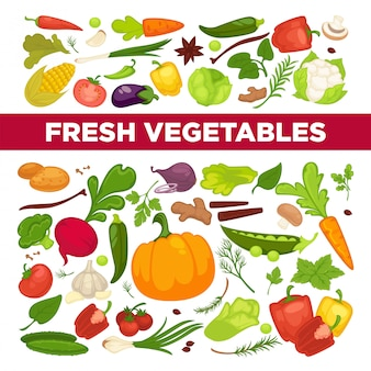 Propaganda de legumes frescos com produtos vegetarianos orgânicos saudáveis e vegetação da fazenda cheia de vitaminas