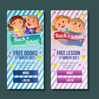 Propaganda de livro livre vertical da bandeira da escola