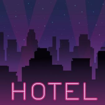 Propaganda de néon do hotel