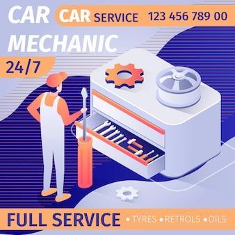 Propaganda para o serviço de mecânico de automóveis durante todo o dia