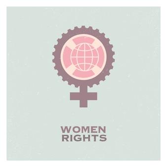 Propaganda retro do pop feminino feminino logotipo e elementos do logotipo do feminismo.