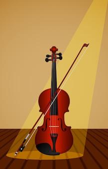 Proporcional, representação de um violino e arco em uma mesa de madeira.