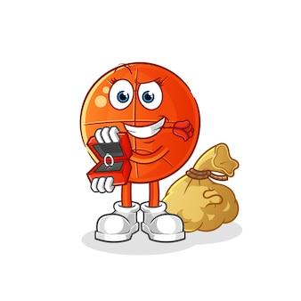 Proposta de basquete e segurando o personagem do anel. mascote dos desenhos animados