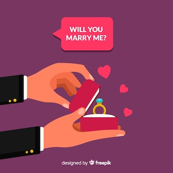 Proposta de casamento linda com design plano
