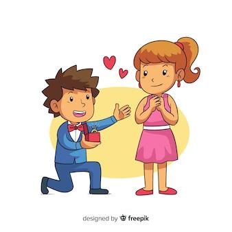 Proposta de casamento linda com estilo cartoon