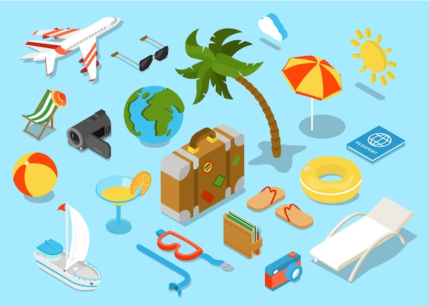 Proposta de empresa de viagens, promoção de turismo de férias de negócios Vetor Premium