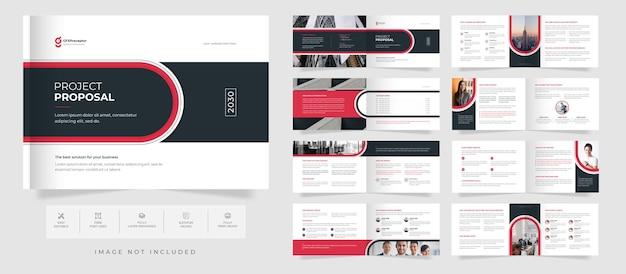 Proposta de negócios moderna modelo de folheto de paisagem bifold de 16 páginas e design de relatório anual