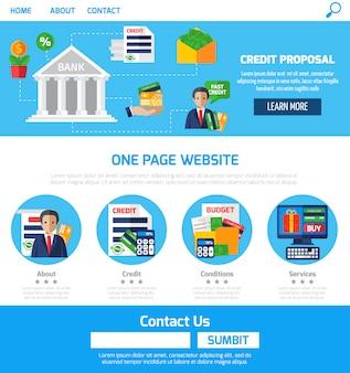 Propostas de crédito de uma página para o site
