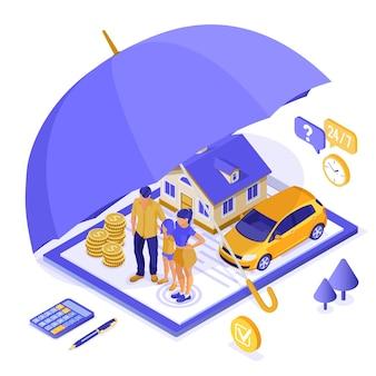 Propriedade, casa, carro, conceito isométrico de seguro familiar para cartaz, site da web, publicidade com apólice de seguro na área de transferência, dinheiro, guarda-chuva e calculadora. isolado