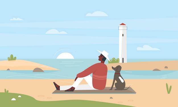 Proprietário de animal de estimação homem sentado na praia do mar com ilustração em vetor cachorro amigo. desenho animado jovem personagem masculino feliz relaxando com seu cachorrinho