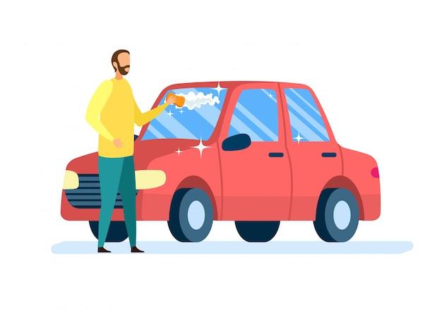 Proprietário de carro limpeza auto flat