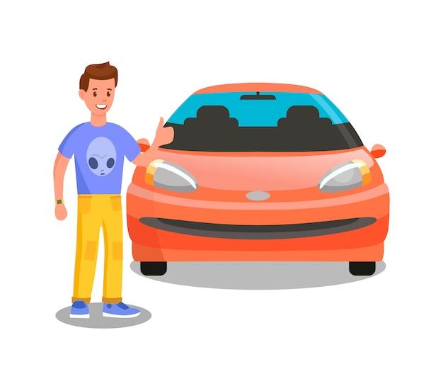 Proprietário de carro satisfeito, ilustração vetorial de comprador