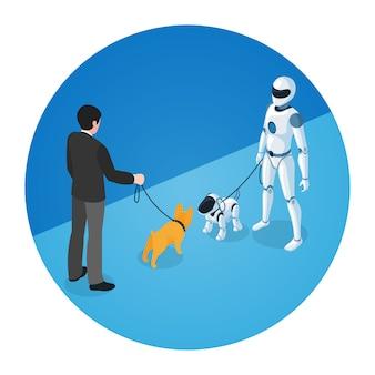 Proprietário do cão e robô doméstico com cão robô