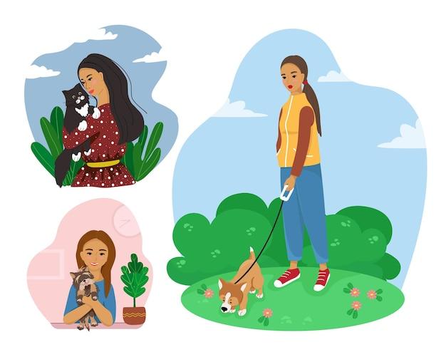 Proprietários de animais de estimação felizes, com pessoas e animais de estimação, gatos, cães, ilustração vetorial em estilo simples.
