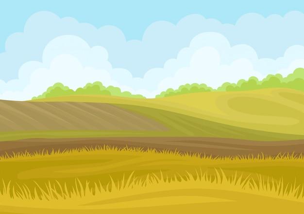 Proprietários de terras bonitas com um campo arado nas colinas.