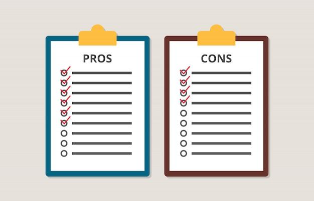 Prós e contras versus comparar lista de verificação na área de transferência